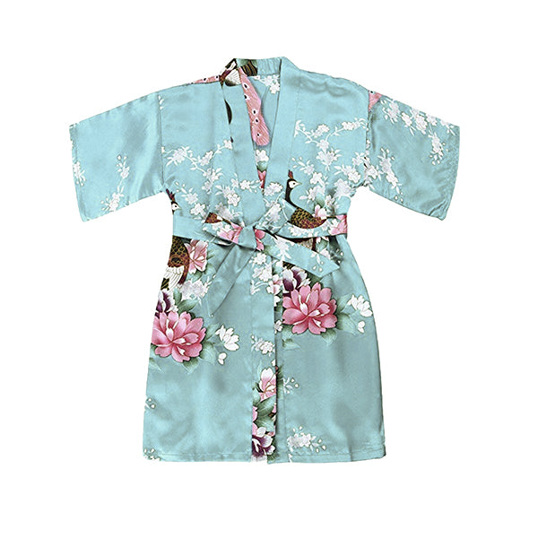 Girls Robes, Floral, Flower Girl, Spa Party, Sky Blue