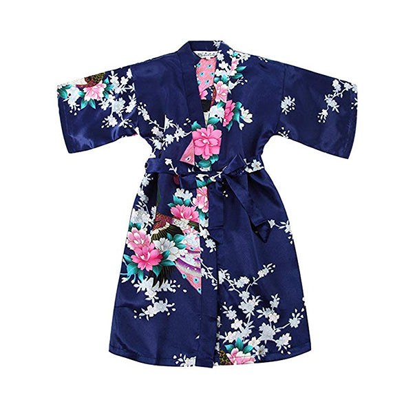 Girls Robes, Floral, Flower Girl, Spa Party, Navy Blue