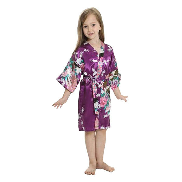 Purple Mommy and Me Robes, Floral, Satin, Girls Robes, all SKUs