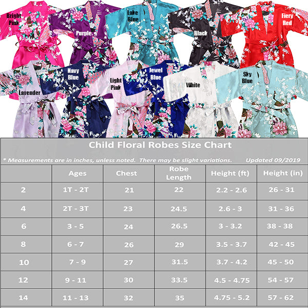 Light Pink Mommy and Me Robes, Floral, Satin, Child Size Guide Chart, all SKUs