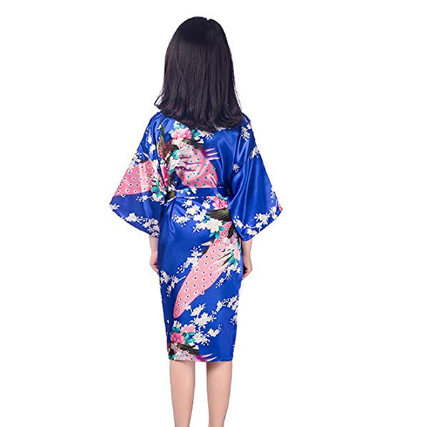 Floral Child Kimono Robe, Jewel Blue