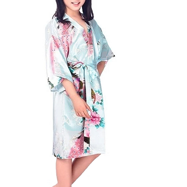 Floral Bride and Bridesmaid Robes, Blue-White, 2T-38 Womens Plus, Satin, MidLength