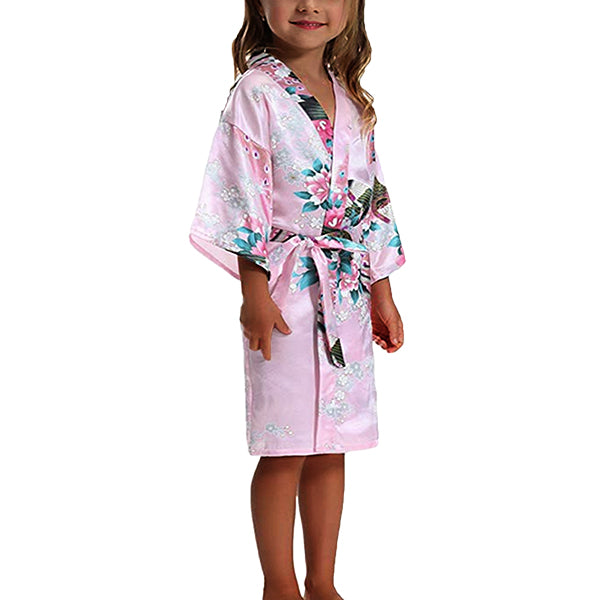 Girls Robes, Floral with Peacocks Design, Flower Girl, Model, Light Pink