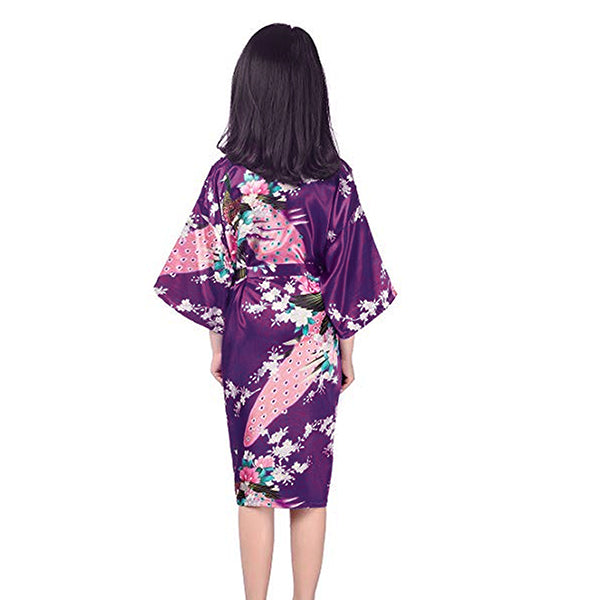Girls Robes, Floral, Flower Girl, Backview, Purple
