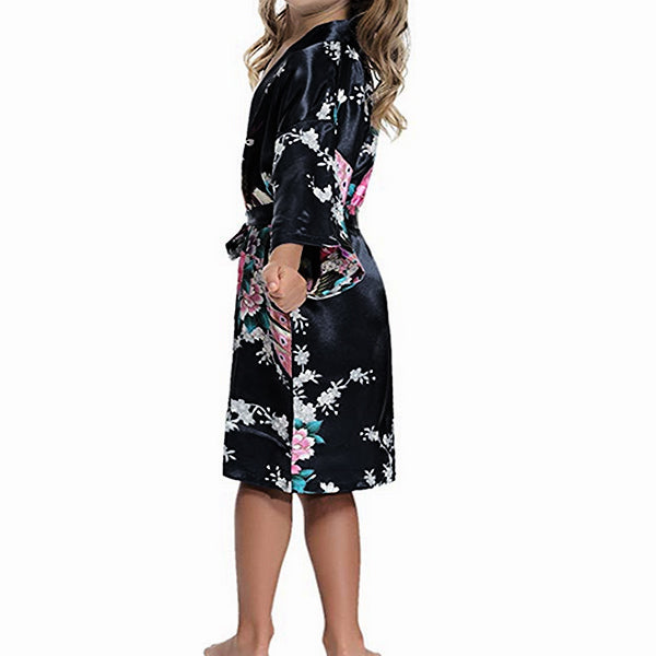Girls Robes, Floral, Flower Girl, Sideview, Black