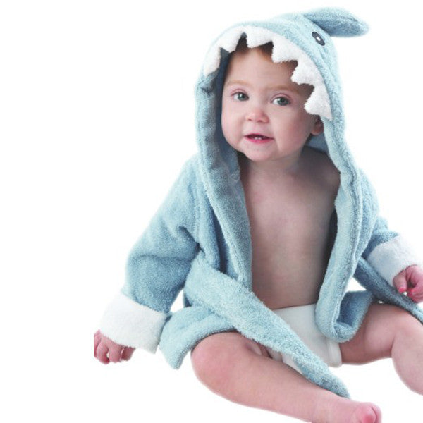 Blue Shark Hooded Kids Bath Robe Towel