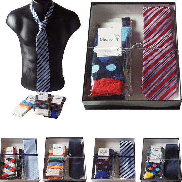 Mens Serious Tie and Whimsical Colorful Socks Gift Sets