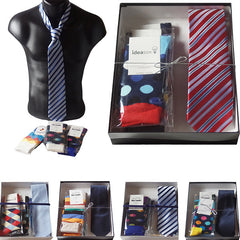 Mens Serious Tie and Whimsical Colorful Socks Gift Sets - Gifts Are Blue - 1