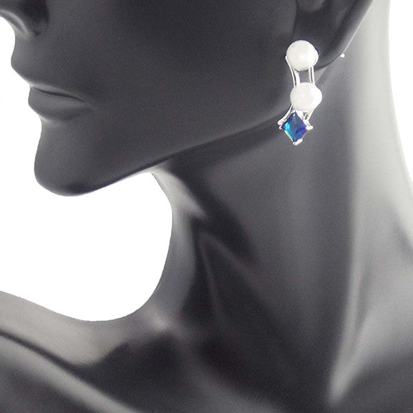Classy Blue Sapphire White Pearl Earrings Stud - Gifts Are Blue - 3