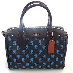 Coach Bennett Badlands Floral Print Midnight Blue Multi Satchel with Shoulder Strap - Gifts Are Blue - 1