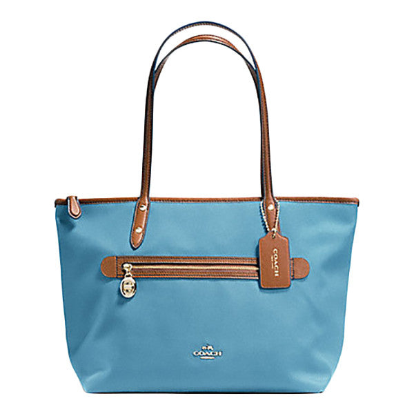 Coach Sawyer Blue Shoulder Tote Bag with Leather Trim