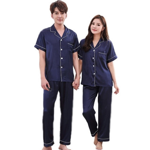 Couples Pajamas, Short Sleeve with Long Pants, Main, Navy Blue