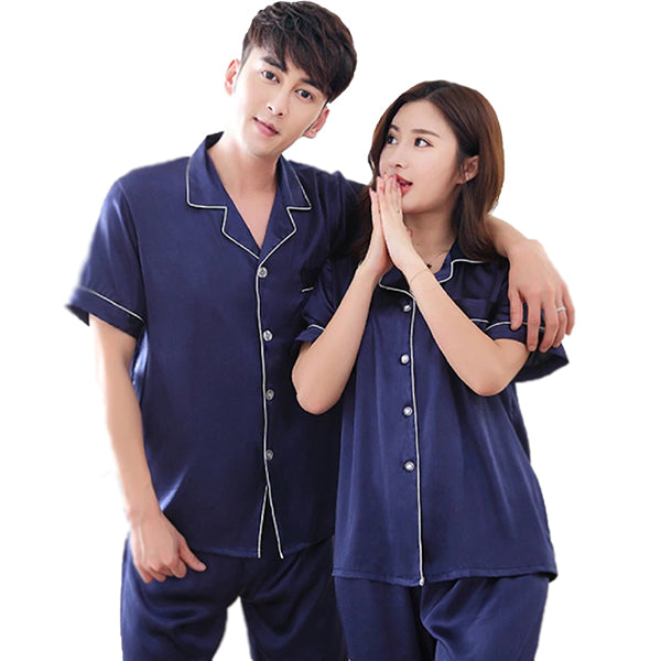 Couples Pajamas, Short Sleeve with Long Pants, Alt1, Navy Blue