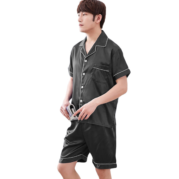 Couples Pajamas, Short Sleeve with Short Pants, Mens, Black