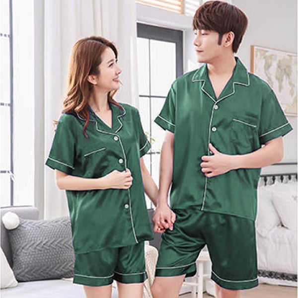 Couples Pajamas, Short Sleeve with Short Pants, Lifestyle, Green