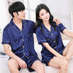 Couples Pajamas, Short Sleeve with Short Pants, Lifestyle 1, Navy Blue