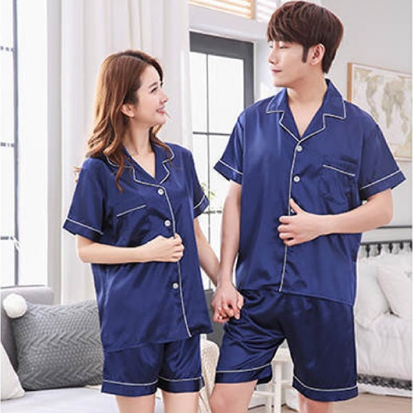 Couples Pajamas, Short Sleeve with Short Pants, Lifestyle 2, Navy Blue