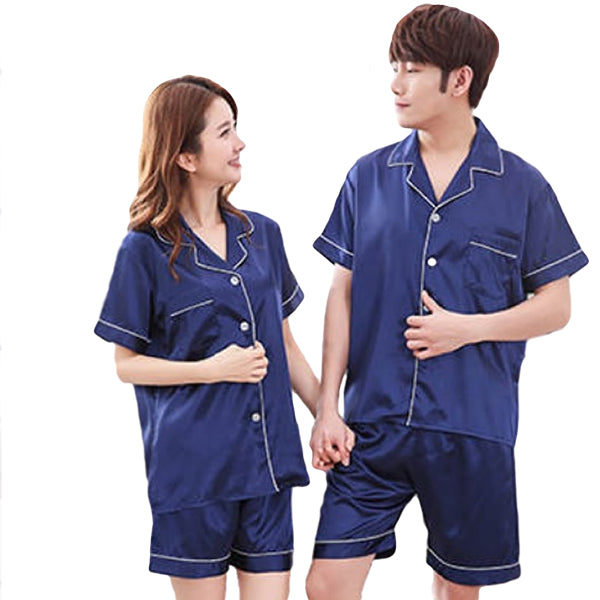 Couples Pajamas, Short Sleeve with Short Pants, Main, Navy Blue