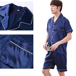 Couples Pajamas, Short Sleeve with Short Pants, Details, Navy Blue