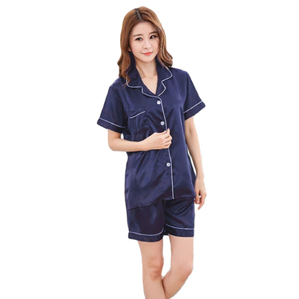 Couples Pajamas, Short Sleeve with Short Pants, Womens, Navy Blue