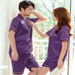 Couples Pajamas, Short Sleeve with Short Pants, Lifestyle, Purple