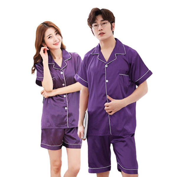 Couples Pajamas, Short Sleeve with Short Pants, Purple, Green