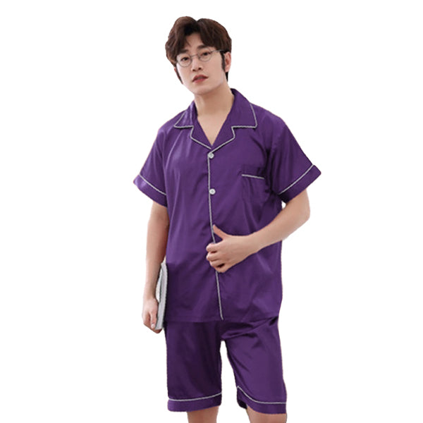 Couples Pajamas, Short Sleeve with Short Pants, Mens, Purple