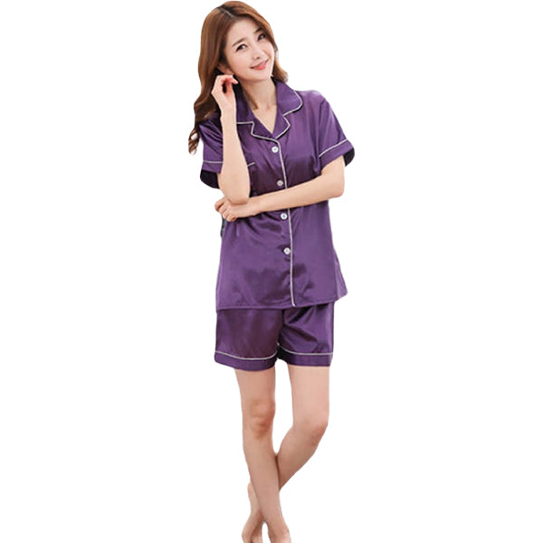 Couples Pajamas, Short Sleeve with Short Pants, Womens, Purple