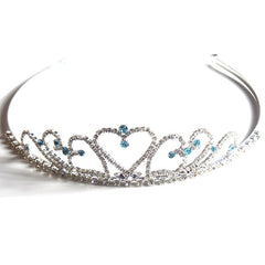 Crystal Hearts Tiara with Light Blue Rhinestones for Wedding and Prom - Gifts Are Blue - 1