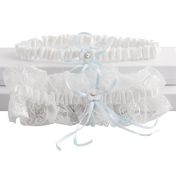 Cute and Stylish Vintage White and Blue Garter Set - Gifts Are Blue