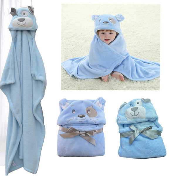 Super Cute Blue Animal Hooded Kids Bath Towel / Robe