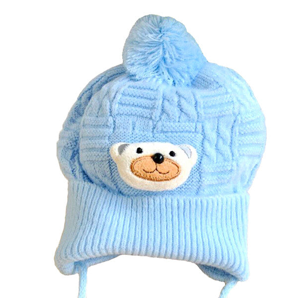 Cute Blue Teddy Bear Winter Beanie Hat for Babies