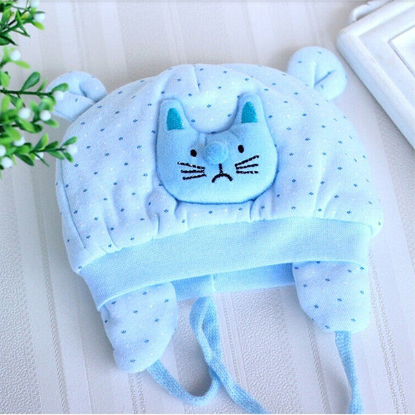 Cute Kitty Polka Dot Blue Baby Hat for 0 to 4 months