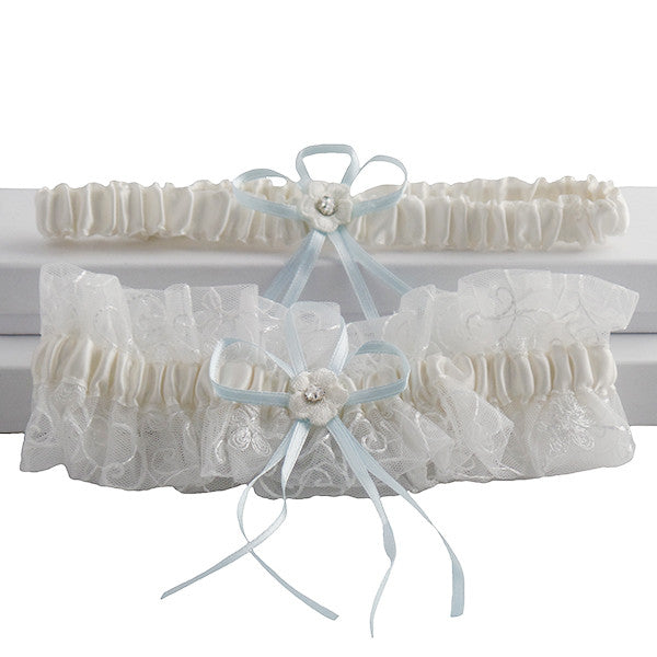 Cute and Stylish Vintage Ivory and Blue Garter Set