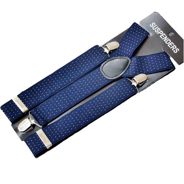Dark Blue Jacquard Weave Suspenders - Gifts Are Blue - 1