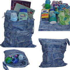Waterproof Double Zipper Wet Dry Reusable Diaper Bag - Gifts Are Blue - 2