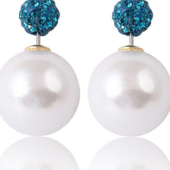 Designer Double Pearl Crystal Earrings with Blue top - Gifts Are Blue - 5