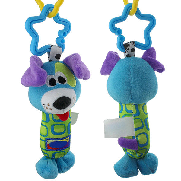 Blue Baby Toys : Plush blue dog hand rattle toy for baby gifts are