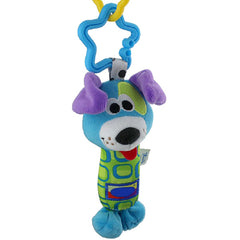 Plush Blue Dog Hand Rattle Toy for Baby - Gifts Are Blue - 1