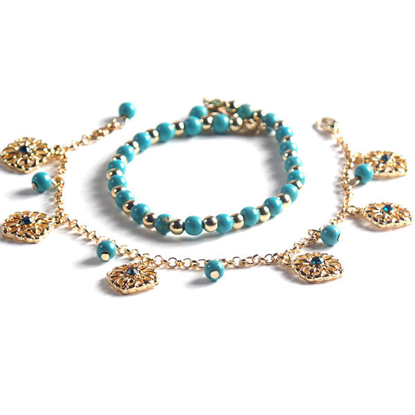 Stylish Double Anklet with Turquoise Beads and Gold Plated Chain - Gifts Are Blue - 2