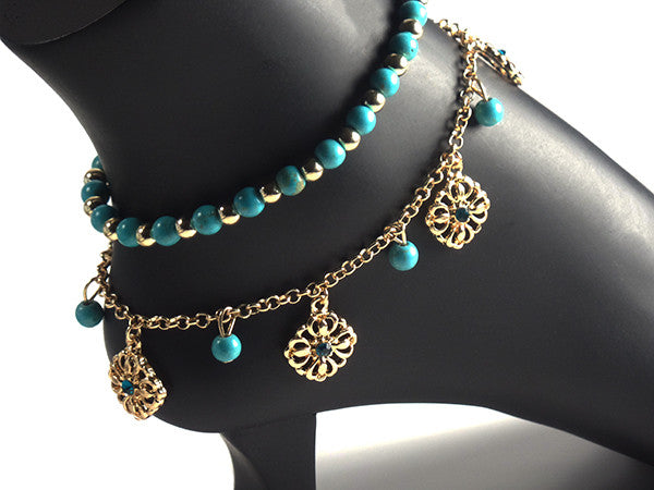 Stylish Double Anklet with Turquoise Beads and Gold Plated Chain - Gifts Are Blue - 5