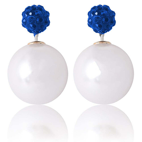 Designer Double Pearl Crystal Earrings with Blue top - Gifts Are Blue - 1