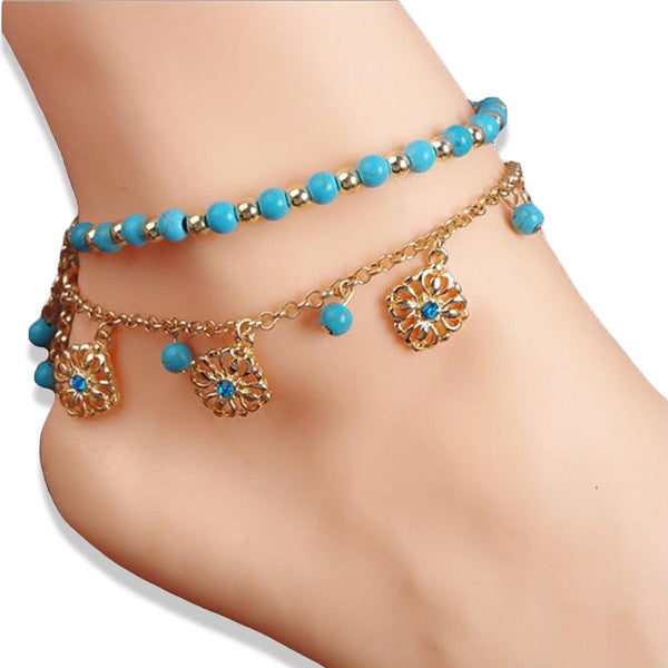 Stylish Double Anklet with Turquoise Beads and Gold Plated Chain