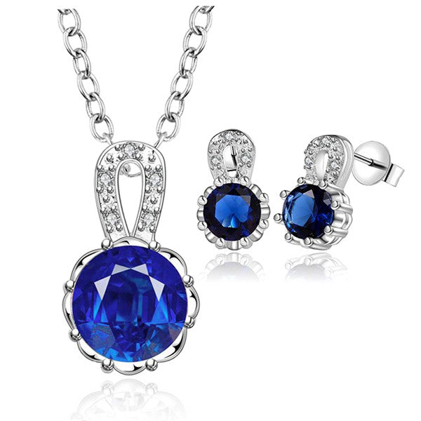 Elegant Blue Crystal Sterling Silver Jewelry Set, Necklace and Earrings
