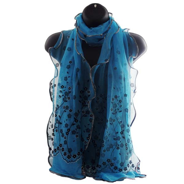 Elegant Flower Shaped Blue Womens Scarf Wrap