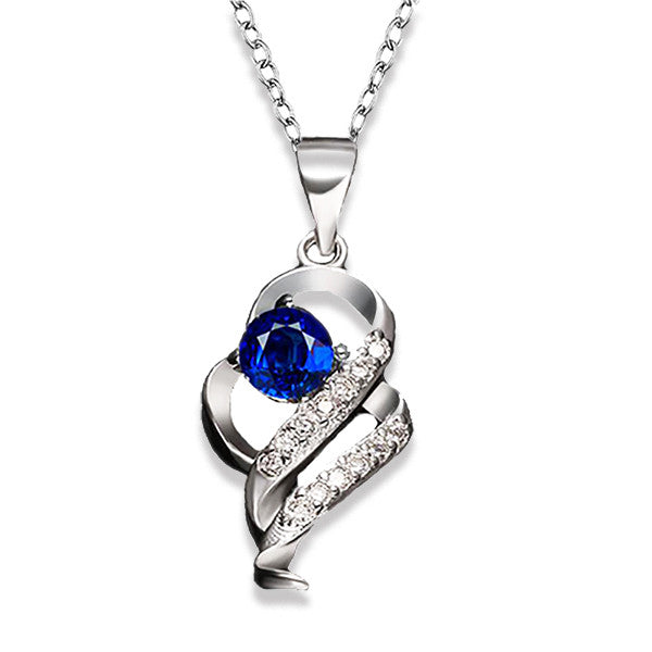 Elegant Silver-Plated Pendant Necklace with Created Blue Sapphire Stone - Gifts Are Blue - 1