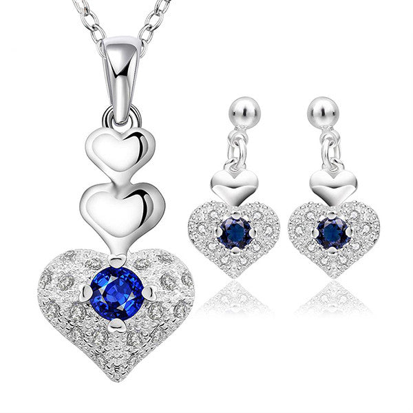 Elegant Sterling Silver Heart Shaped Jewelry Set With Necklace and Earrings - Gifts Are Blue - 1