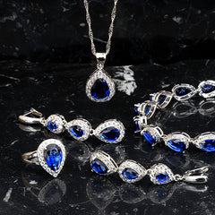 4 pc Womens Jewelry Set, 925 Sterling Silver, Sapphire, all SKUs