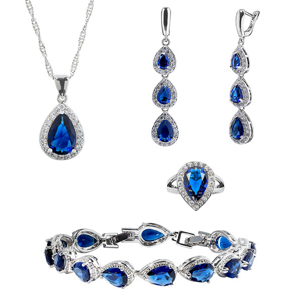 Womens 4 Pc Water Drop Jewelry Set, 925 Sterling Silver, Blue and White CZ