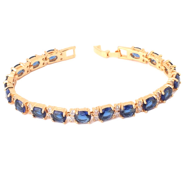 Womens Elegant Bracelet with Created Blue Oval Stones